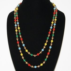 """Beautiful vintage gold and colorful necklace 52"""""""